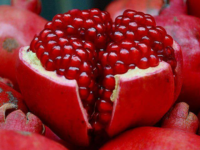 Innards of a red pomegranate